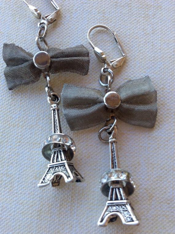 Eiffel Tower Earrings for Women, Paris Earrings, Silver Metal Earrings, Mesh Bow Earrings, Swarovski Rhondelle Earrings