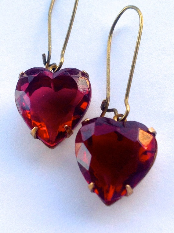 Jewelry, Earrings, Earrings for Women, Red Heart Earrings, Glass Earrings, Vintage Earrings, Swarovski Earrings, Estate Style Old Hollywood