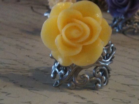 Jewelry, Rings, Rose Ring, Flower Ring, Yellow Cabochon Rose Rings, Silver Filigree Rings, high quality rings, Adjustable Ring