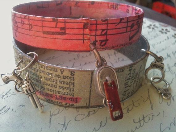 Jewelry, Steampunk Bracelet, Bracelet for Women, Metal Bracelet, Industrial Bracelet, Dictionary Print, Cuff Bracelets, Charm Bracelet