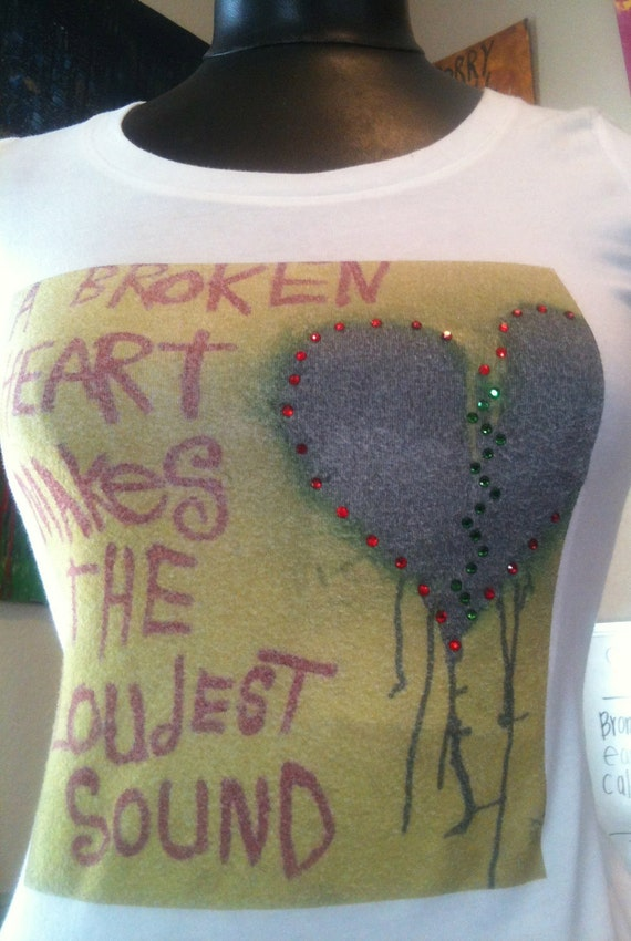 Clothing Womens T-Shirts Word Art by Nay Arts of Las Vegas Broken Heart