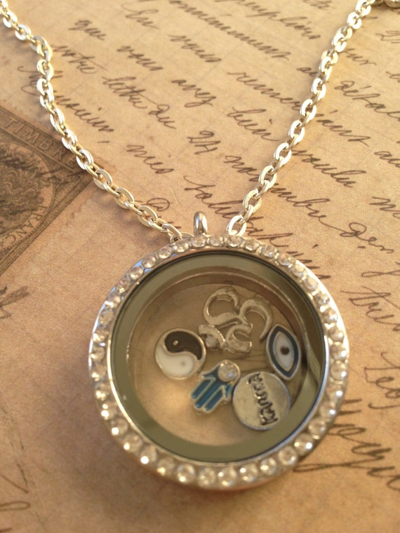Jewelry Necklace, Floating Charm Necklace, Good Luck Charm Necklace, Good Luck Themed Charm Necklace