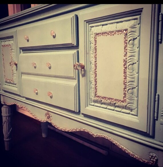Home and Living, Buffet Table, Dining Room Furniture, Distressed Furniture, Light Blue Buffet Table with Rhinestones and Pearls