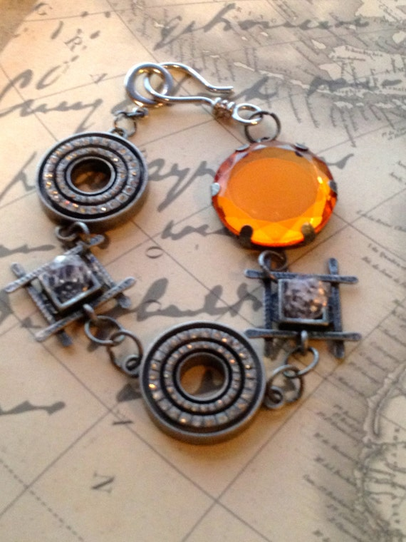 Jewelry, Bracelet, Adjustable Bracelet, Metal Statement Bracelet, Bracelet for Women, Steampunk Bracelet, Chain Link Bracelet