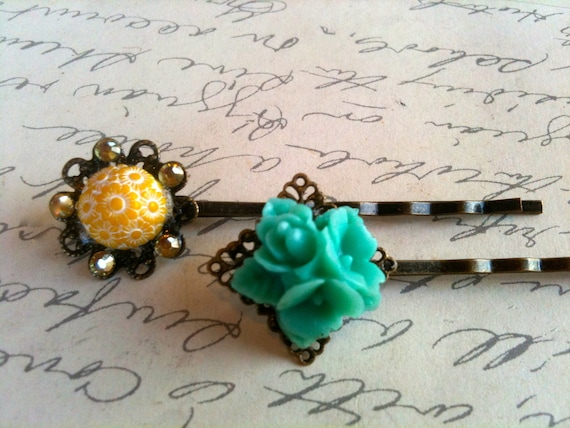 Vintage Bobby Pins, Bobby Pins, Hair Accessories, Flower Bobby Pins, Cameo Hair Pins