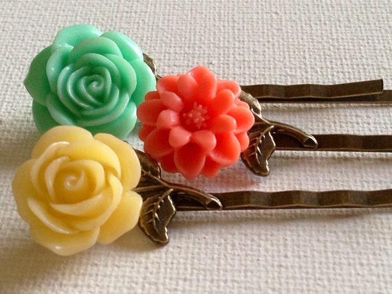 Accessories Hair Bobby Pin Flower Cabochon Hair Pins