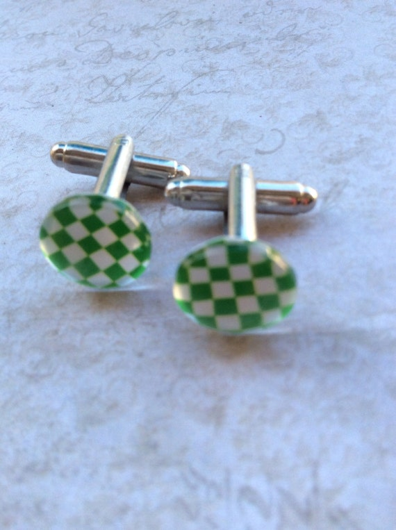 Cufflinks, Men's Cufflinks, Green Cufflink, Checkerboard Cufflinks