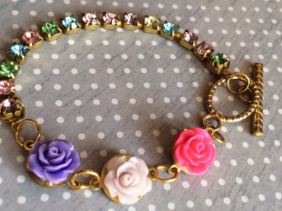 Childrens Authentic Swarovski Crystal Chain Rose Bracelet Multicolor Flower Cabochon Bohemian Style Bracelet