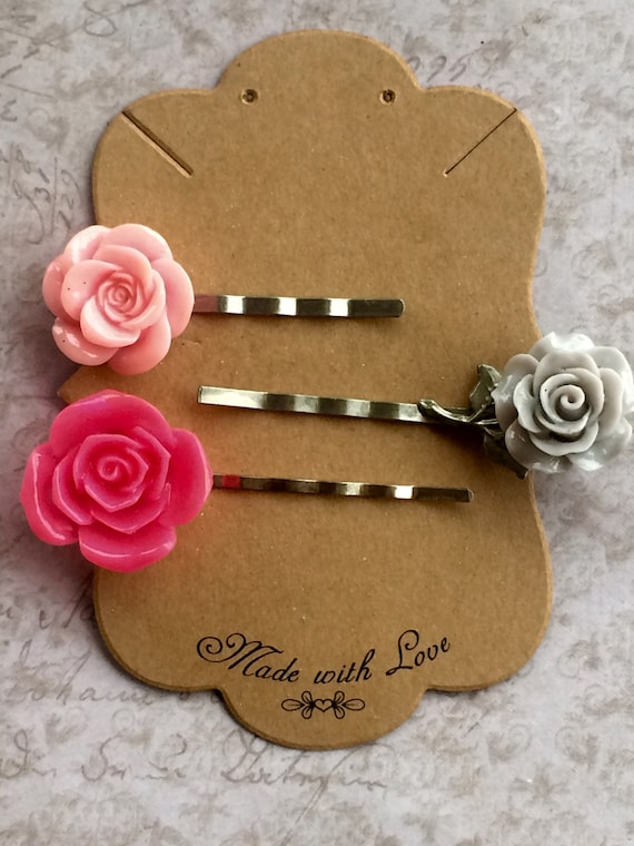Best Hair Pins, Bobby Pins, Rose Flower Cabochon Hair Bobby Pins