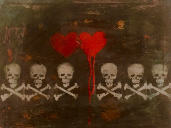 Art & Collectibles, Painting, Abstract Art, Spraypaint Art, Canvas, Skull Art, Heart Art, Artwork by Shannon Ruther, Stacey Gearing