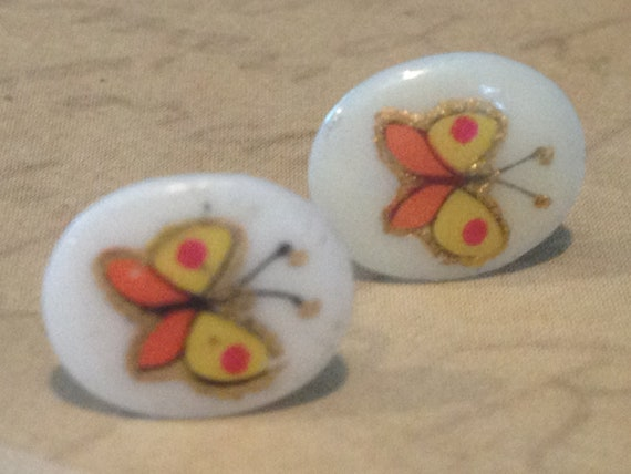 Childrens Earrings Jewelry Handpainted Authentic Vintage Butterfly Cabochon Post