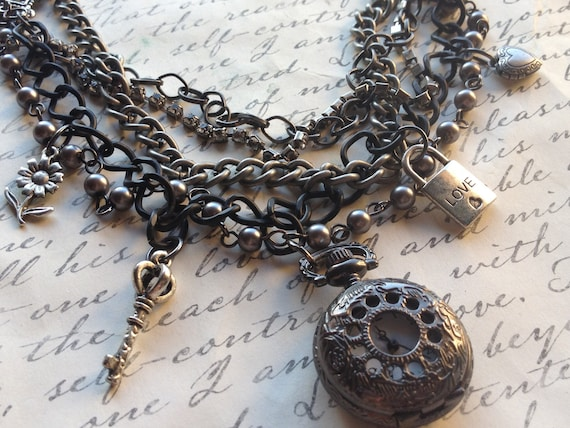 Handmade Multistrand Pocketwatch and Charm Steampunk Necklace