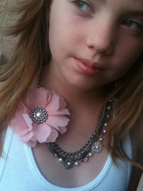 Handmade Pink Flower Wedding Necklace for Women, Vintage Victorian Steampunk Romantic Inspired