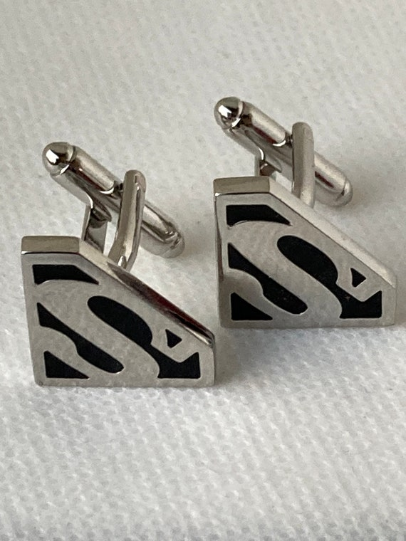 Handmade Silver Superman Cufflinks, Gifts for Men, Suit and Tie Accessories