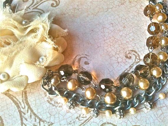 Handmade Wedding Flower Necklace for Women, Vintage Necklace