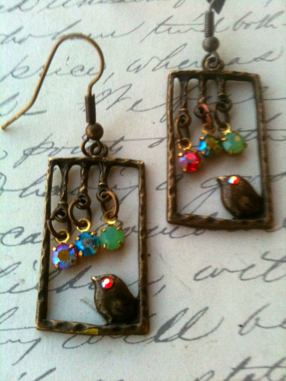 Vintage Earrings, Swarovski Crystal Earrings, Antique Jewellery, Bird Earrings, Unique Earrings, Earrings for Women