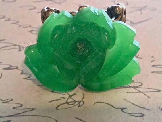 Rings For Women, Cabochon Ring, Flower Ring, Rose Ring, Adjustable Rings, Boho Ring, Vintage Ring, Green Rose Ring