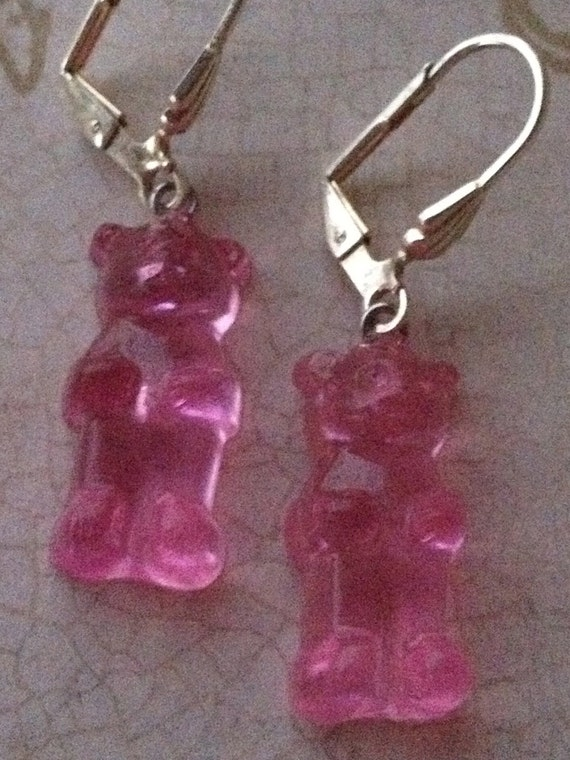 Childrens Gummy Bear Earrings Girls Vintage Earrings Pink