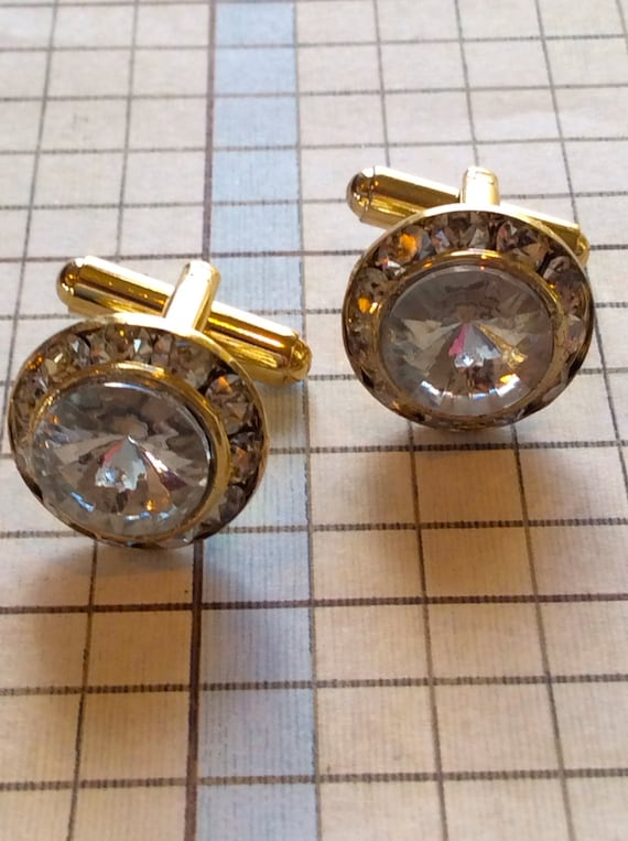 Cufflinks for Men, Vintage Accessories For Men, Crystal Cufflinks, Fancy Mens Cufflink, Vintage Swarovski Crystal Cufflinks