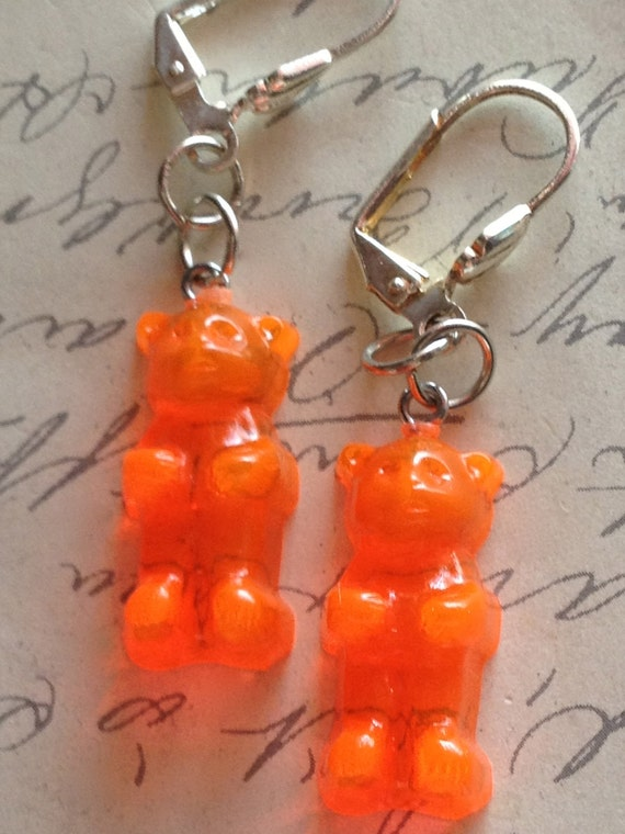 Childrens Jewelry Earrings Girls Vintage Gummy Bear Earrings Orange