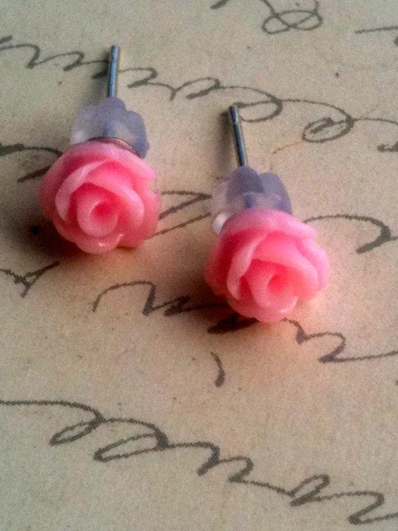 Childrens Earrings Pink Rose Resin Cabochon for Little Girls or Women