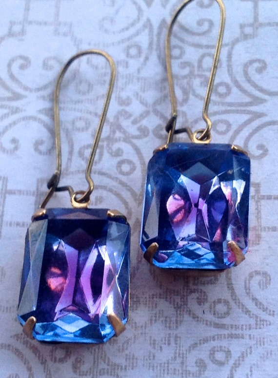 Swarovski Crystal Earrings, Purple Earrings, Vintage Earrings, Unique Earrings, Crystal Earrings, Earrings for Women, Fashion Earrings