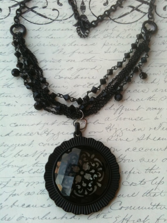Jewelry, Necklace for Women, Steampunk Necklace, Pendant Necklace, Black Lace Pendant Necklace,Victorian Necklace, Black Chain Necklace