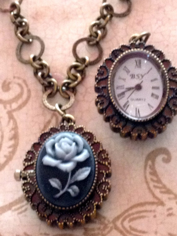 Jewelry Necklace Pendants Locket Vintage Victorian Steampunk Romantic Inspired Cameo Pocket watch Necklace for Women