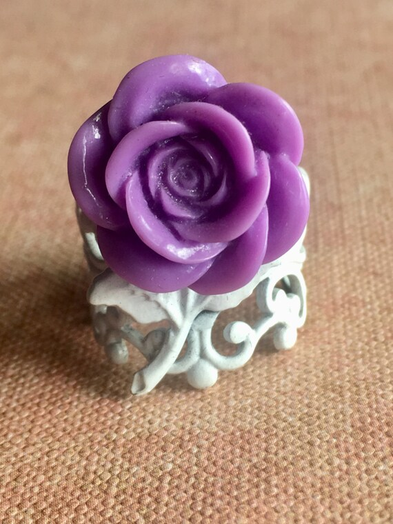Rings for Women, Adjustable Ring, Rose Ring, Steampunk Ring, Victorian Ring, Romantic Ring, Lavendar Ring, Rose Ring, Cabochon Ring