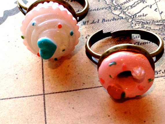 Girls Cupcake Ring or Donut Cabochon with Antique Bronze Filigree Kitsch Fashion