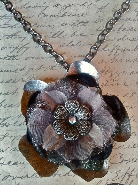 Jewelry, Necklaces, Fabric Necklace, Wedding Necklace, Flower Necklace, Vintage Necklace, Pendant Necklace, Victorian Necklace, Women