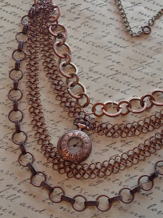 Jewelry, Necklace, Lockets, Chainmaille, Steampunk Necklace, Pocket Watch Necklace, Necklace for Women, Vintage Style Necklace, Victorian