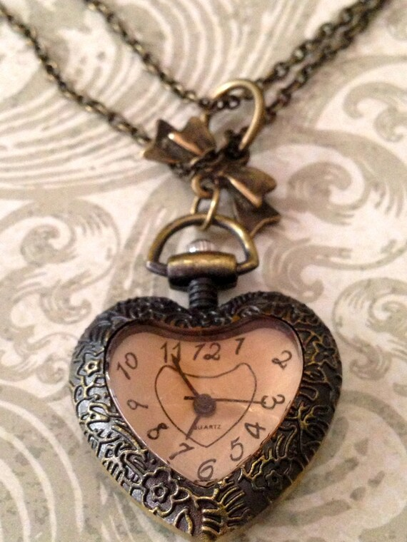 Pocket Watch Necklace, Victorian Steampunk Pink Heart Pocketwatch Necklace Romantic Inspired, Locket Necklace