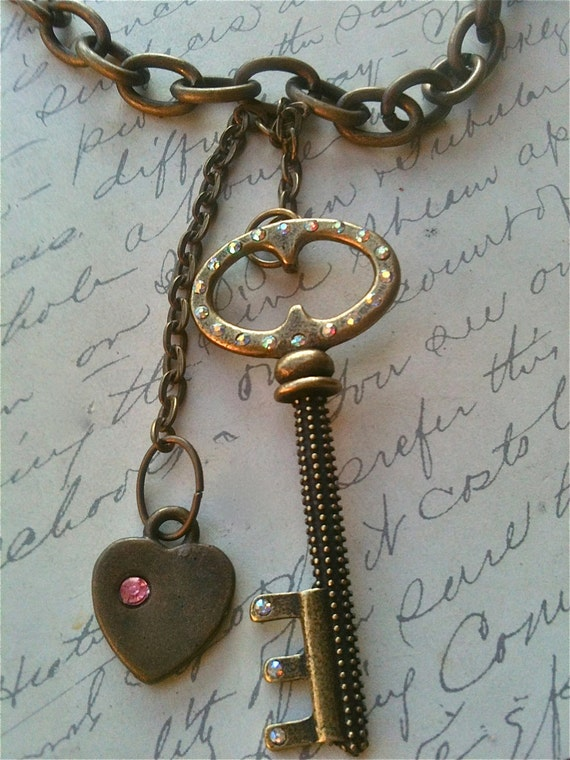 Handmade Key to my Heart Necklace, Vintage Key Necklace, Victorian, Steampunk, Romantic