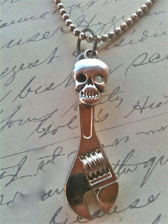 Children Jewelry Necklace Wrench and Skull Boys Mens Accessories