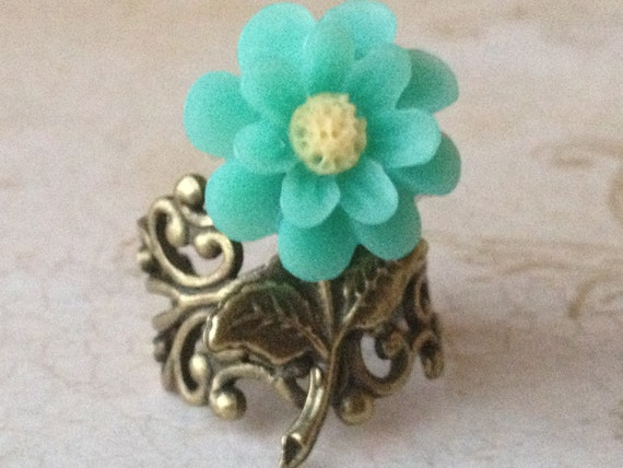 Jewelry Ring Adjustable Turquoise Flower Ring Daisy High Quality Filigree Base