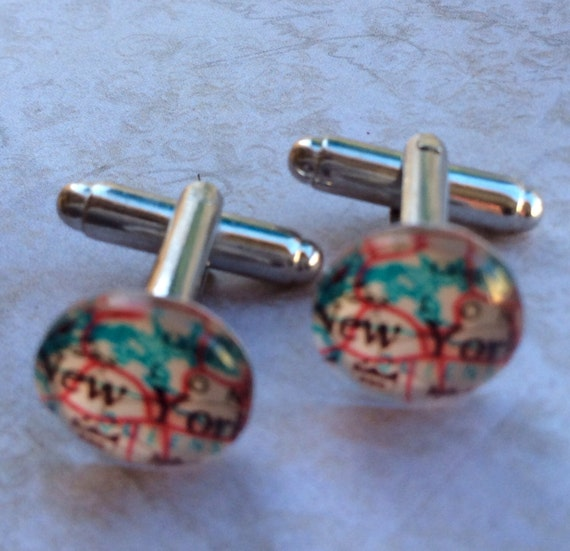 Accessories Men Cufflinks Unisex Map Silver High Quality