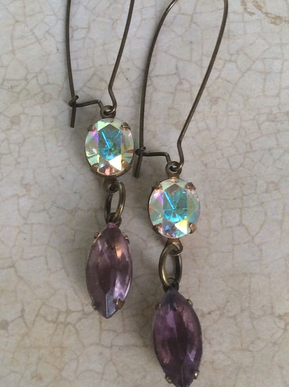 Earrings for Women, Dangle and Drop, Art Deco Earrings, Crystal Earrings, Purple and Crystal AB,  Earring, Vintage Jewelry, Aurora Bourealis