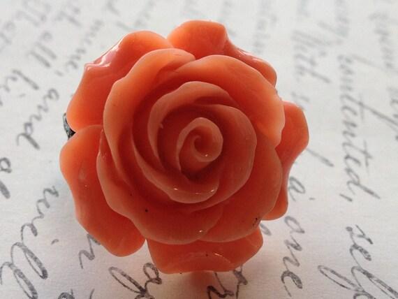 Orange Rose Flower Ring, Adjustable Ring, Vintage Ring