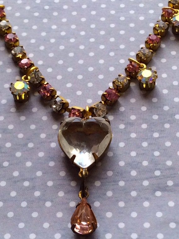 Necklace for Women, Crystal Necklace, Swarovski Necklace, Vintage Necklace, Pink Heart Necklace, Estate Style Necklace, Old Hollywood Style