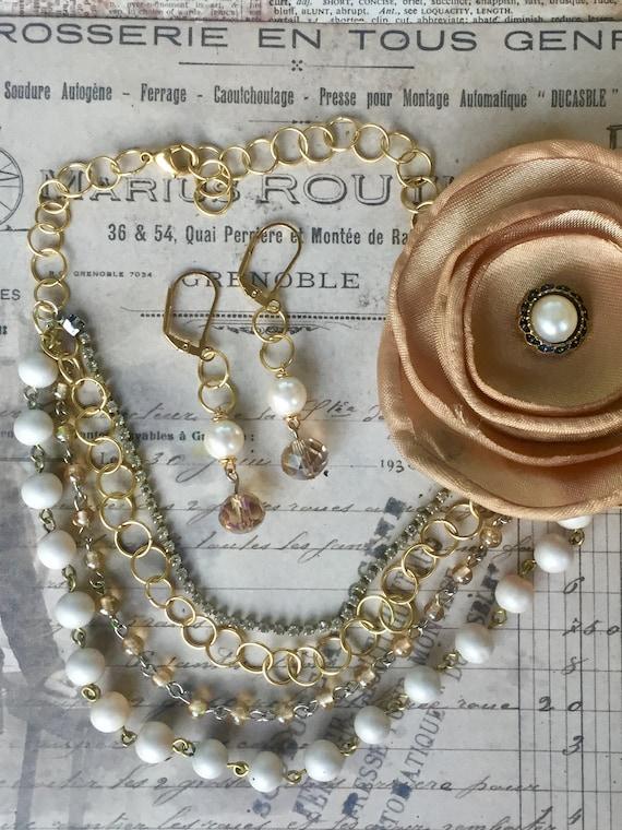 Jewelry, Necklace for Women, Earrings, Vintage Style Earrings, Multistrand Necklace, Wedding Necklace, Vintage Necklace, Wedding Necklace