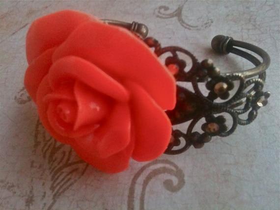 Jewelry, Bracelet for Women, Adjustable Bracelet, Rose Bracelet, Orange Flower Bracelet, f