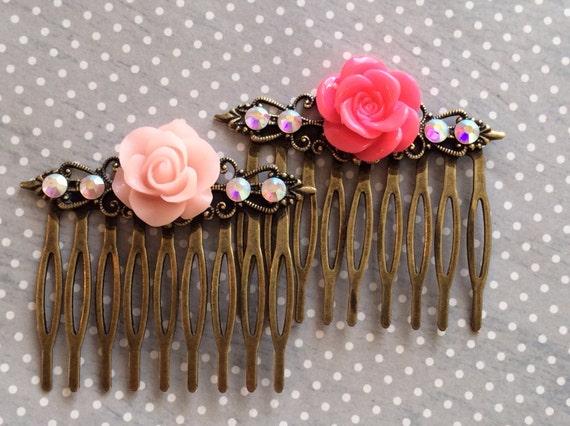 Hair Accessories, Hair Combs, Rose Cabochon Hair ComSwarovski Crystal Hair Combs