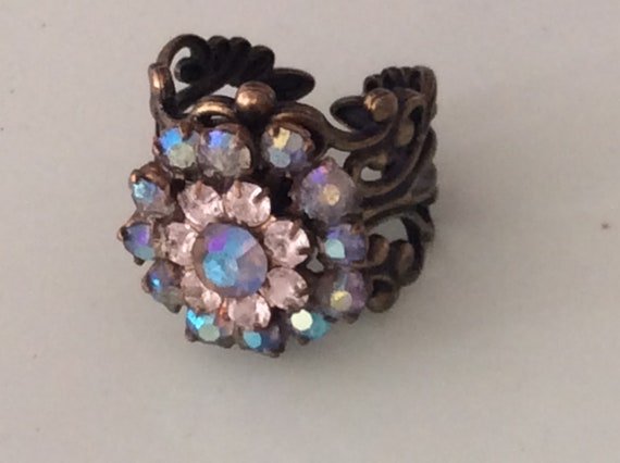 Vintage Swarovski Ring Handmade Flower with rhinestones