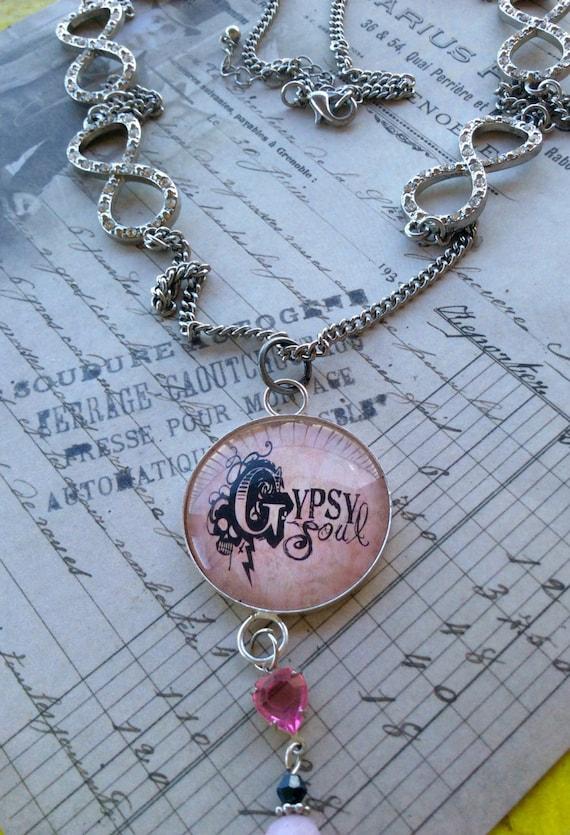 Necklace for Women, Unique Necklace, Pendant Necklace, Gypsy Necklace, Silver Metal Necklace, Pink Necklace