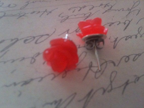 Red Rose Earrings, Flower Earrings, Transparent Earrings, Post Earrings, Jewelry, Earrings, Vintage Style Earrings, Romantic Earrings