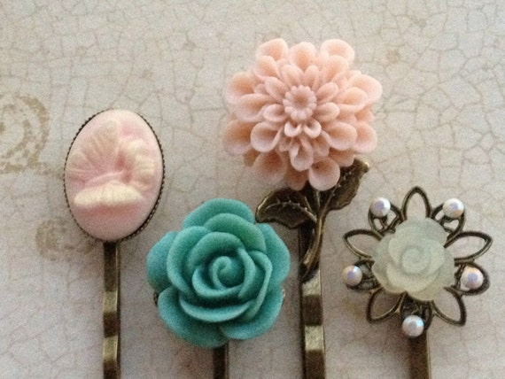 Rose and Cameo Bobby Pins Accessories Pink, Cream and Teal with Swarovski Crystals