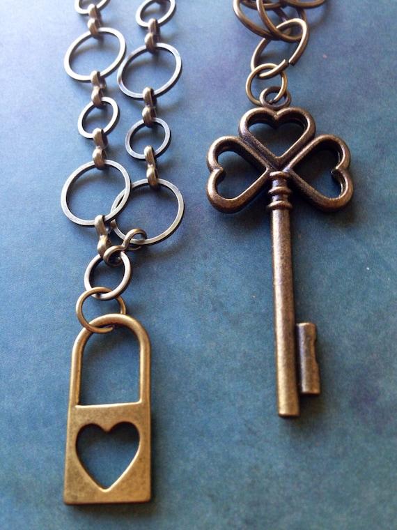 Jewelry, Necklace for Women, Key Necklace, Locket Necklace, Charm Necklace, Mother Daughter Necklace, Boyfriend Girlfriend Necklace