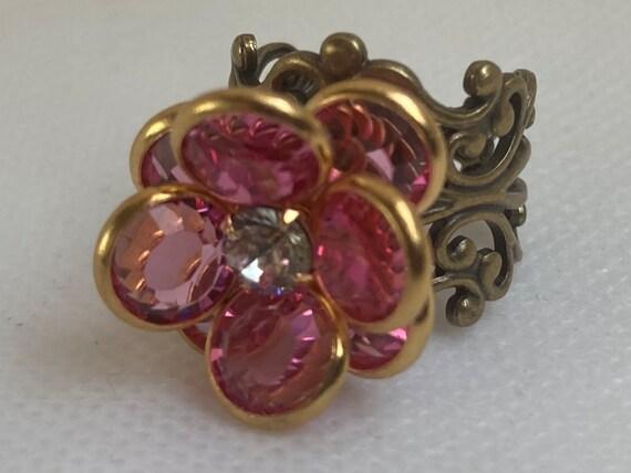Vintage Swarovski Statement Ring, Rings for Women, Swarovski Rings, Vintage Rings, Adjustable Ring, Unique Rings, Crystal Rings, Rare