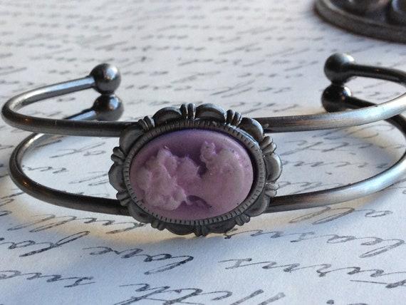 Victorian Lady Cameo Bracelet Adjustable Vintage Lady Bangle Cuff
